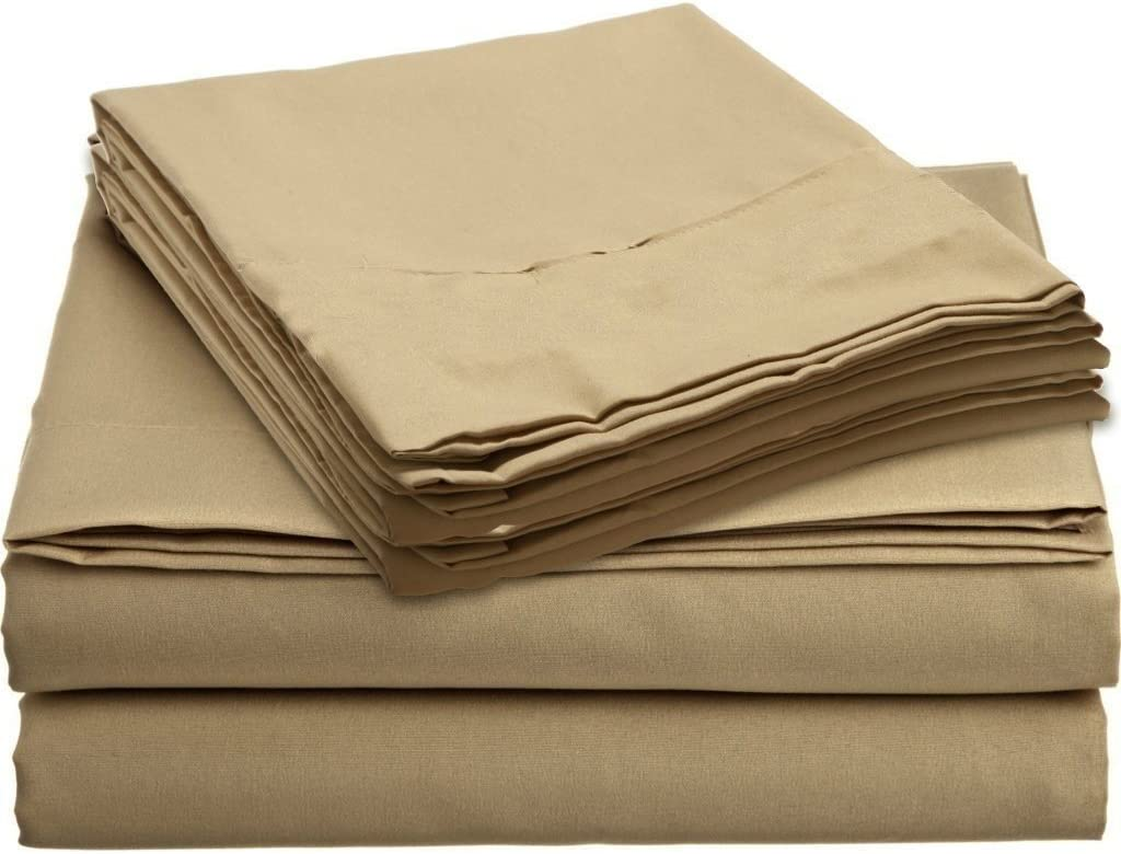 Taupe Solid Deep Pocket Bed Sheet Set 1000 Count Egyptian Cotton Sheet