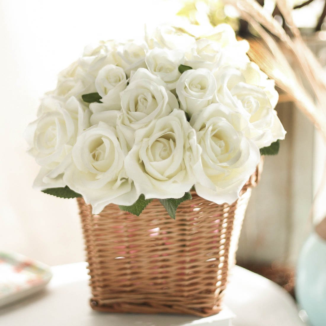 JUSTOYOU 2PCS Artificial Silk Rose Flowers Bouquet for Homes Table Wedding Arrangement (Cream White)