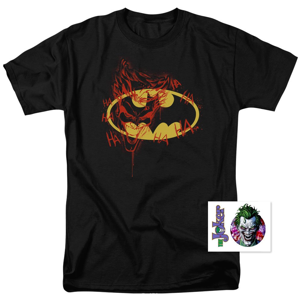 Amazon com batman logo joker graffiti dc comics t shirt clothing