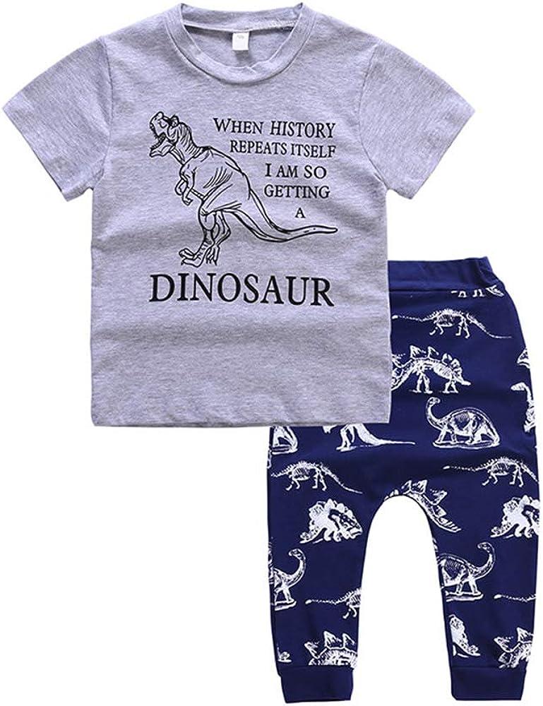 Mibuy Junge T-Shirt Hosen Anzug Atmungsaktiv Kinder Kleidung Sommer Kurzarm Kinderanzug Cartoon Dinosaurier Drucken Sportkleidung Kleidungsset Kinderbekleidung f/ür 3-6 Jahre alt