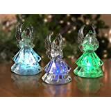 Lighted Angel Figurines - Set of 3 LED Color Changing Angels - Set Them on a Table Top or Add a String and Hang Them From you Christmas Tree - Christmas Angels