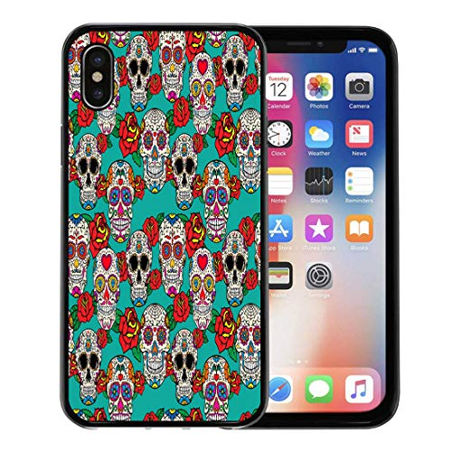 (Emvency Phone Case for Apple iPhone Xs case,Colorful Pattern Sugar Skulls and Roses Dia De Los Muertos Dead Day Calavera for iPhone X Case,Rubber Border Protective)