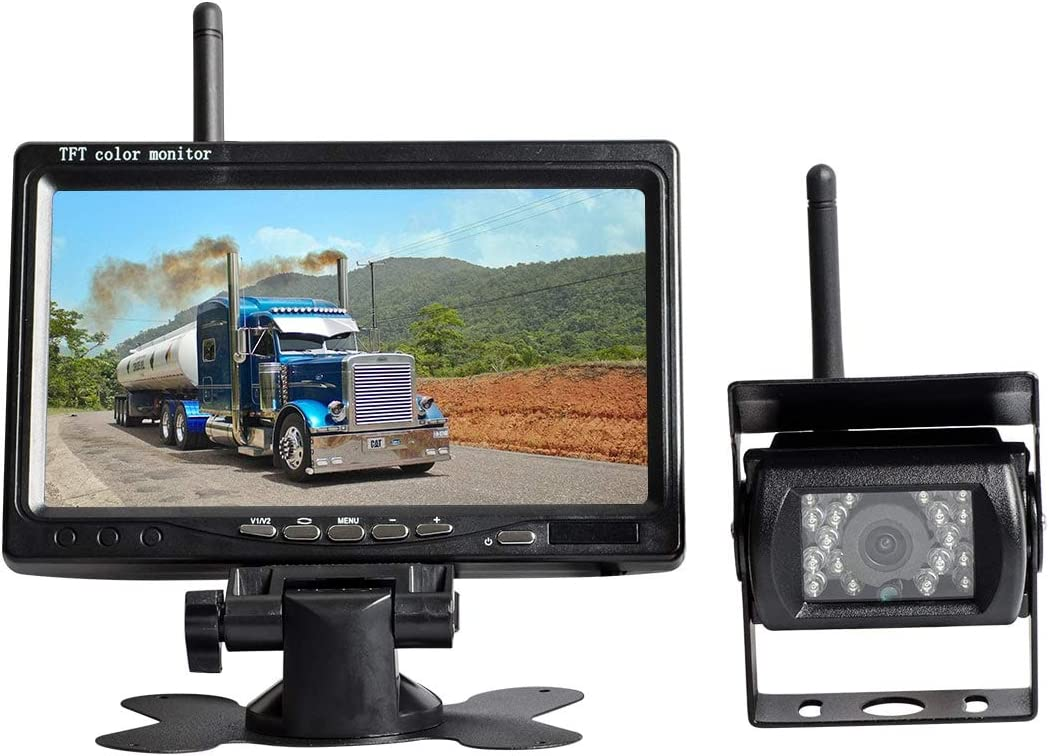 "AKK Wireless Backup Camera Vehicle System 7"" LCD Monitor Night Vision IP67 Waterproof Built-in IR Cut Rear View Camera for Truck/Sem Trailer/Box Truck/RV/SUV/Van/Pickup"
