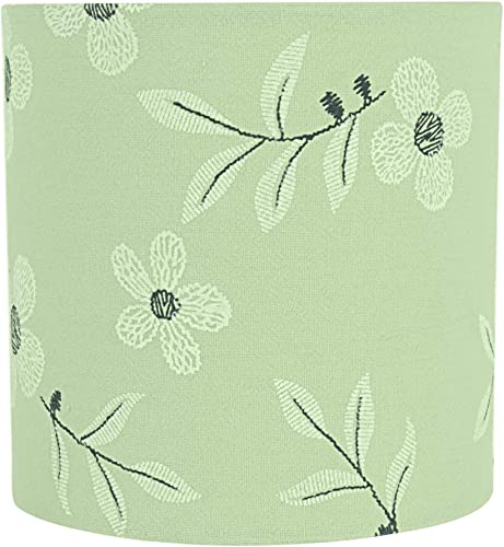 Aspen Creative 31197 Transitional Drum Cylinder Shaped Construction Light Green, 5 Wide 5 x 5 x 5 Clip ON LAMP Shade
