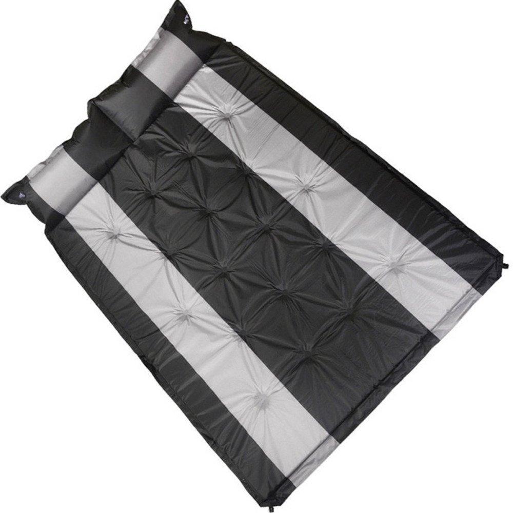 Jiu Bu Im Freien Feuchtigkeitsfeste Unterlage Picknick-Matte Camping Campingzubehör Doppelt Automatisches Aufblasbares Kissen,schwarz