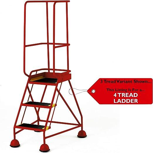 Escalera de seguridad portátil de 5 peldaños para almacenes - Roja- 2,2 m - Escalera de seguridad