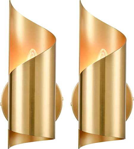 Brass Wall Sconces Sets of 2 Streamline Wall Light Elegant Wall Lighting Fixture