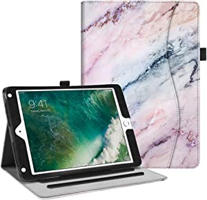 Fintie Case for iPad 9.7 2018 2017 / iPad Air 2 / iPad Air - [Corner Protection] Multi-Angle Viewing Folio Cover w/Pocket, Auto Wake/Sleep for iPad 6th / 5th Gen, iPad Air 1/2, Marble Pink