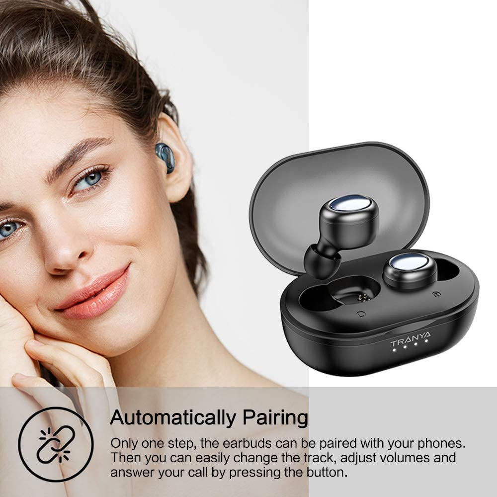 Upgraded Version of T1 TRANYA True Wireless Earbuds Built-in Microphone, Bluetooth 5.0 Deep Bass True Wireless Headphones, 7 Hours Continuous Playtime, 60 Hours Playtime with Charging Case, T1-Pro
