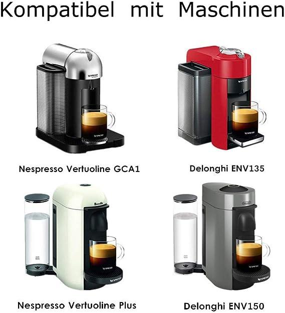 I Cafilas - Cápsulas recargables de acero inoxidable para cafetera Nespresso Vertu, incluye cuchara y pincel Grande Tasse: Amazon.es: Hogar