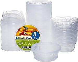 [TashiBox] 8 oz food storage deli containers with lids - 40 sets