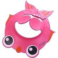 BESTOMZ Cappello del bagno del bambino Regolabile Protezione per shampoo per bambini (Rosa)