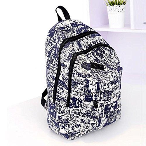 Clode® Bolsa de mujeres Vintage lona morral bolsa mochila viaje escuela Azul
