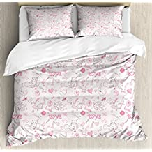 Love Queen Size Duvet Cover Set by Ambesonne, Hand Drawn Style Romantic Icons Kissing Birds Eros Flower Dragonfly Cat, Decorative 3 Piece Bedding Set with 2 Pillow Shams, Pale Coral Pink Brown