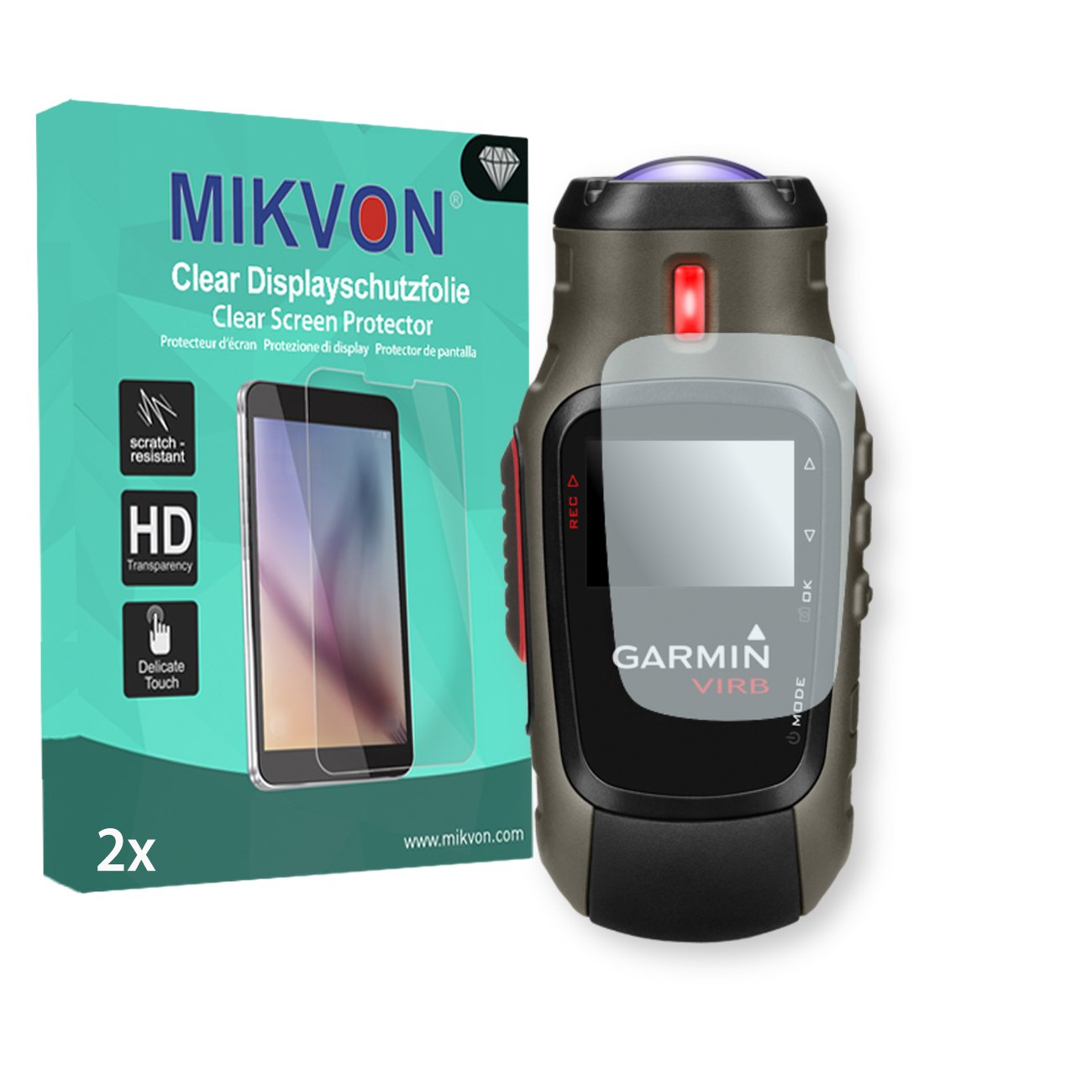 MIKVON 2X Clear Screen Protector for Garmin VIRB Elite - Retail Package with Accessories
