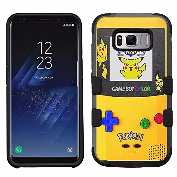 online store 7a9a4 f72a9 for Samsung Galaxy S8, Hard+Rubber Dual Layer Hybrid Heavy-Duty Rugged  Armor Cover Case - Pokemon Pikachu #Gameboy
