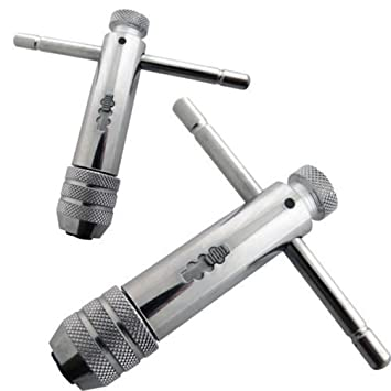 Uwant Fashion Household 2pc Reversible Barra De T Mango Trinquete Tap Wrench M3-M8 &