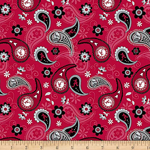 Sykel Enterprises NCAA Alabama Paisley Cotton, Fabric by the Yard