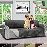 oversized sectional sofas Vailge Quilted Reversible Oversize Sofa Slipcover,Oversize Couch Cover with Elastic Strap,Organize Pockets,Water Repellent Protector,Washable Sofa Cover for Dogs,Kids(Oversize Sofa:Grey/Dark Grey)