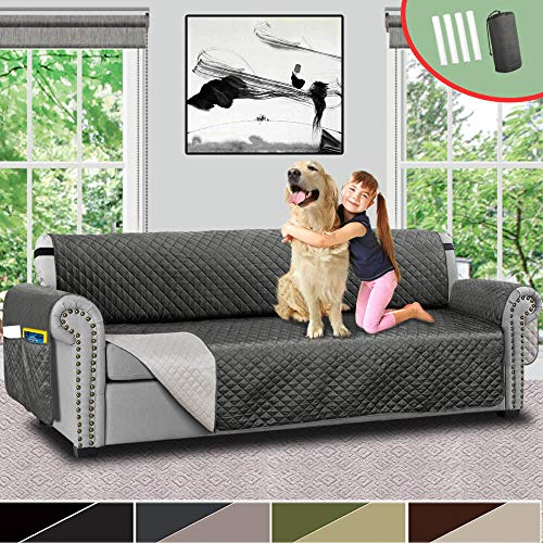 Vailge Quilted Reversible Oversize Sofa Slipcover,Oversize Couch Cover with Elastic Strap,Organize Pockets,Water Repellent Protector,Washable Sofa Cover for Dogs,Kids(Oversize Sofa:Grey/Dark Grey)