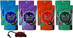 Tiki Cat Velvet Mousse Grain Free Cat Food 4 Flavor Variety 8 Pouch with Catnip Toy Bundle, 2 Each: Chicken Wild Salmon, Chicken Egg, Chicken, Tuna Chicken (2.8 Ounces)