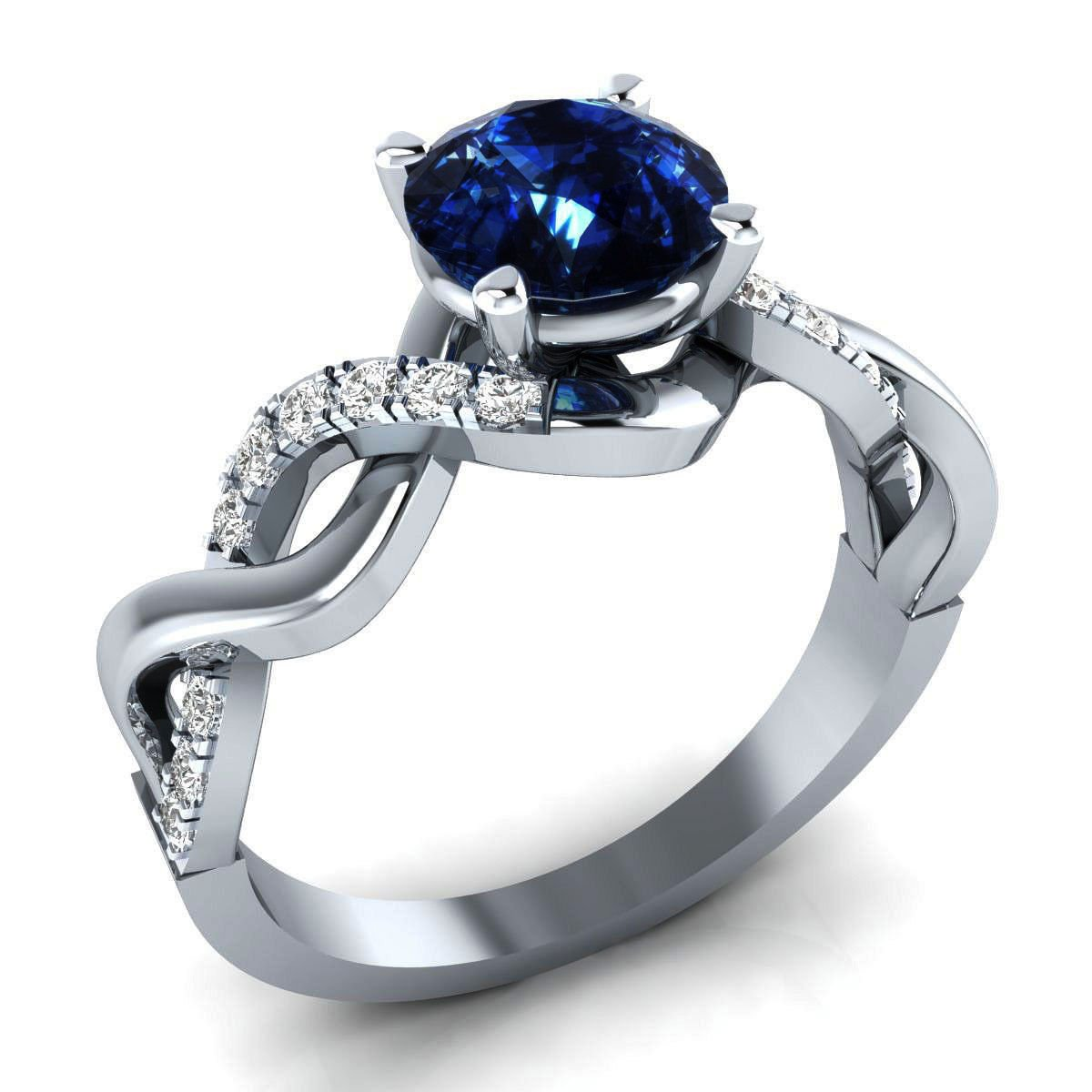 2.56ct White Simulated Diamond & Blue Color Stone 10k WG Engagement-Wedding Ring