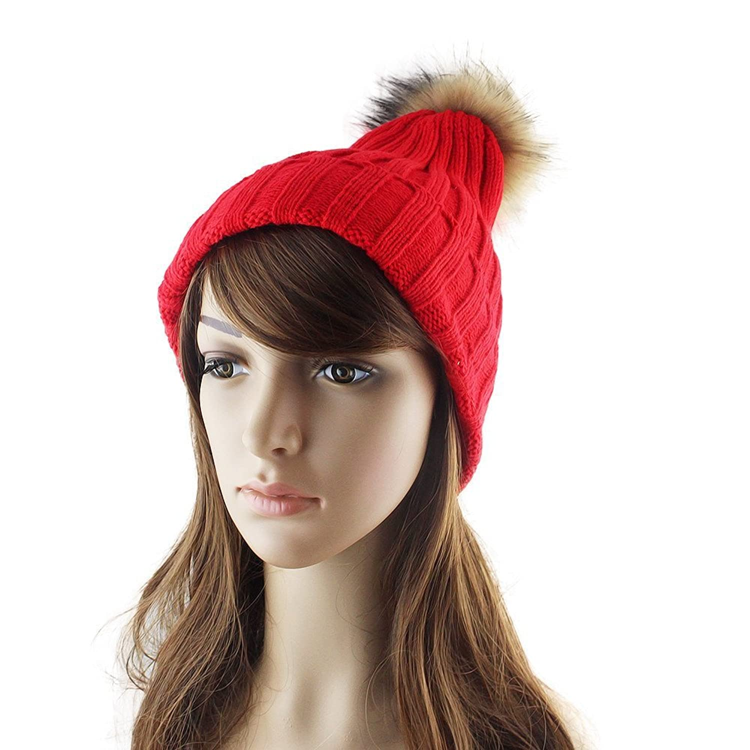Feelontop@ Casual Winter Elastic Beanies Hats with Bobbles
