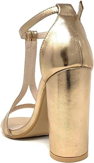 Chaussure Mode Escarpin Sandale soir/ée Glamour Plateforme Femme Lani/ères crois/ées Rayures Traits m/étallique Talon Haut Bloc 11 CM Angkorly