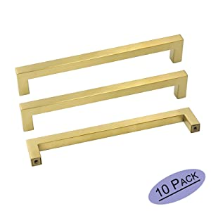 goldenwarm Brass Kitchen Cabinet Hardware Gold Drawer Pulls 10 Pack - LSJ12GD192 Square Cupboard Bathroom Door Handles Brushed Brass Pulls for Cabinets 7-1/2in Center to Center