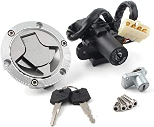 GZYF Motorcycle Gas Fuel Tank Cover Lock and Keys with Ignition Switch Compatible with Kawasaki Ninja 250R EX250J 2008-2012, Ninja 300 EX300A EX300B 2013-2015