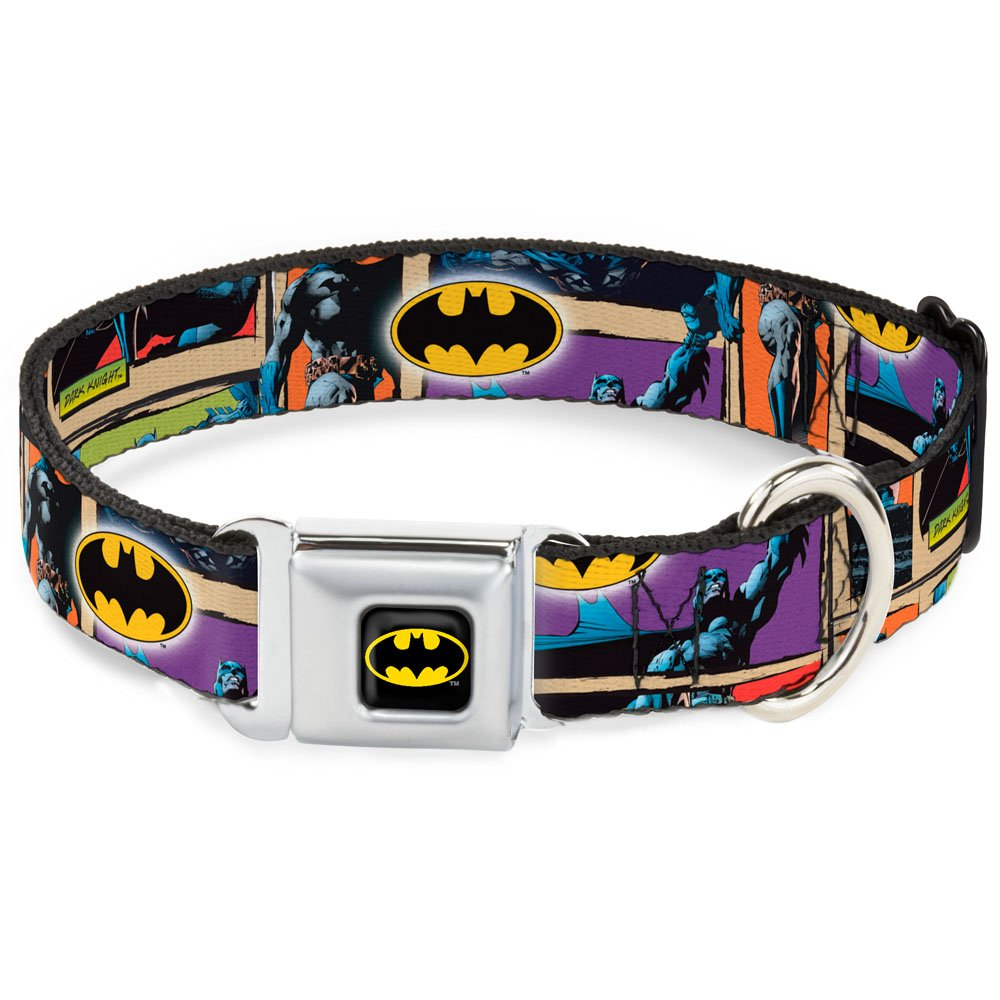 Dark Knight Poses w Batman Shield 1.5\ Dark Knight Poses w Batman Shield 1.5\ Buckle-Down Seatbelt Buckle Dog Collar Dark Knight Poses w Batman Shield 1.5  Wide Fits 18-32  Neck Large