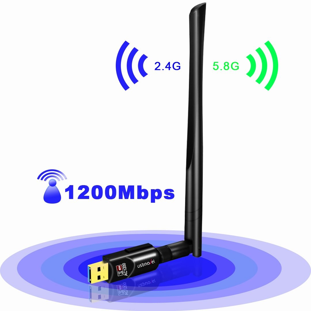 USB Wifi Adapter AC1200 USBNOVEL USB 3.0 Dual Band 2.4G/5G Mini 802.11ac Wireless Network Adapter Wi-Fi Dongle with 5dBi Antenna for Laptop Destop Windows XP/Vista/7/8/10 Mac OS X 10.4-10.14.1