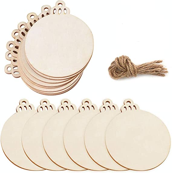 manualidades para ni/ños adornos navide/ños Decoraci/ón colgante Funhoo 60Pcs Discos de madera redondos de 3-3.5 pulgadas con agujeros Rodajas de madera natural para centros de mesa de manualidades