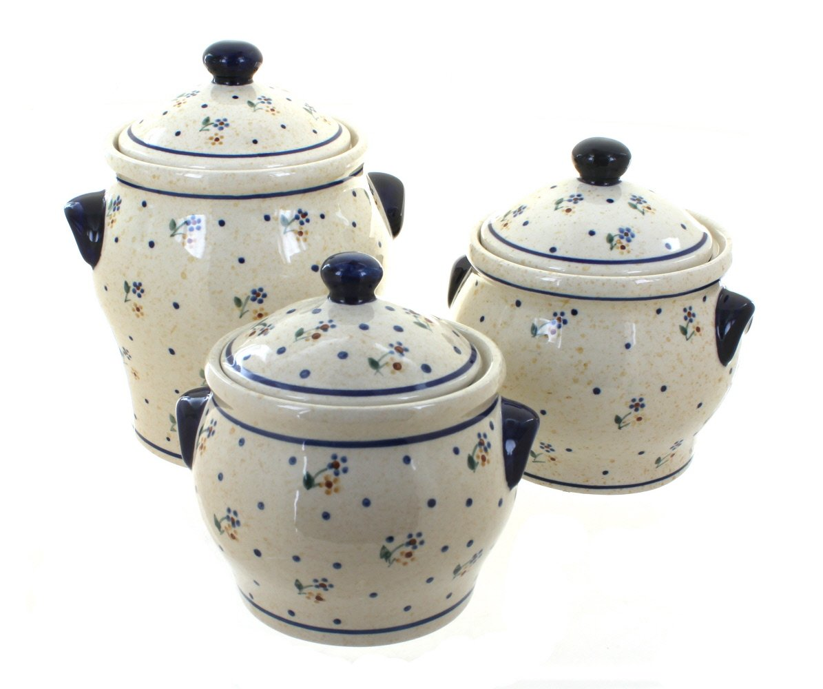 Zaklady Blue Rose Polish Pottery Country Meadow Canister Set