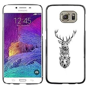 LECELL--Funda protectora / Cubierta / Piel For Samsung Galaxy S6 -- Ciervo Lobo Oso --