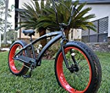 Alloy Frame Premium Fat Tire Beach Cruiser Bicycle 3 Speed - Flat W RED