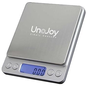 unojoy 3 kg báscula de cocina digital de precisión para cocinar, hornear, joyas y