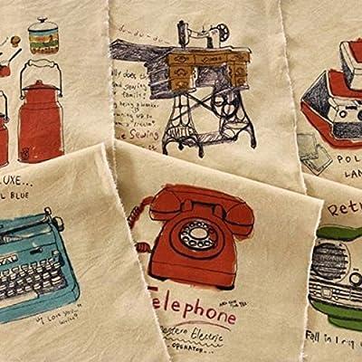 chengyida Retro Vintage teléfono Illust lino y algodón tela ...