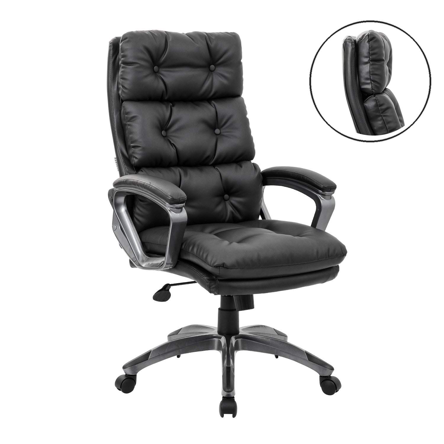KADIRYA High Back Executive Office Chair - Bonded Leather Ergonomic Computer Chair Curved Armrests Task Desk