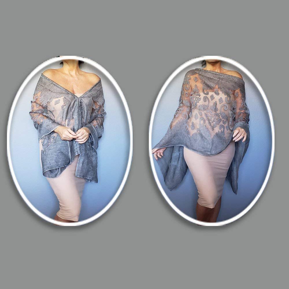 47d1723c1348a Plus Size Grey Wrap Flocked Organza Wedding Shawl Travel Scarf By ...