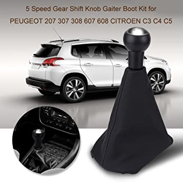 Terisass Gear Shift Knob 5 Speed Shift Knob Gaiter Boot Cover Car Vehicle Dust-Proof with Gear Lever Stick Head PU Leather Plastic for Peugeot 207 307 308 607 608 Citroen C3 C4 C5