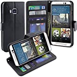 M9 Case, LK [Kickstand Feature] M9 Wallet Case, Luxury PU Leather Case Flip Cover Built-in Card Slots Stand with Stylus For HTC One M9, BLACK