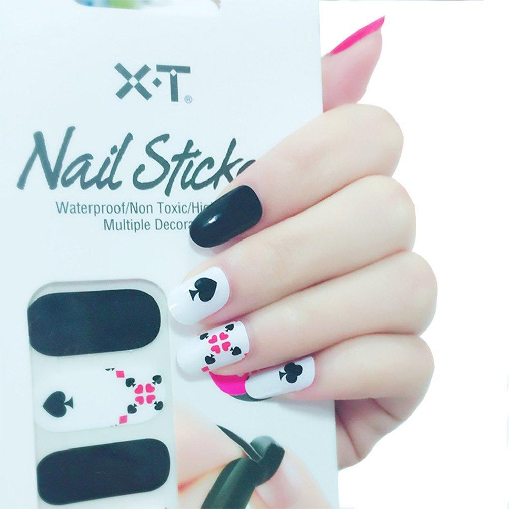 Amazon.com : X.T Nail Polish Strips Poker Red Hearts Nail Sticker ...