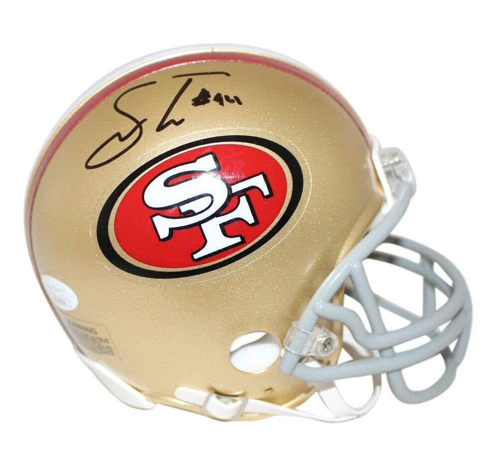 Leaf COA Joe Montana Autographed San Francisco 49ers Mini Football Helmet