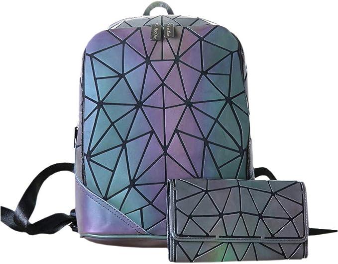 Colorful Geometric Luminous Geometric Lingge Backpack Holographic Laser Rave Bag