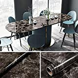 YENHOME 24 x 393 inch Sandstone Black Marble Removable Wallpaper Stick and Peel Vinyl Film for Countertops Peel and Stick Wallpaper for Kitchen Bathroom Wall Decor Wall Covering