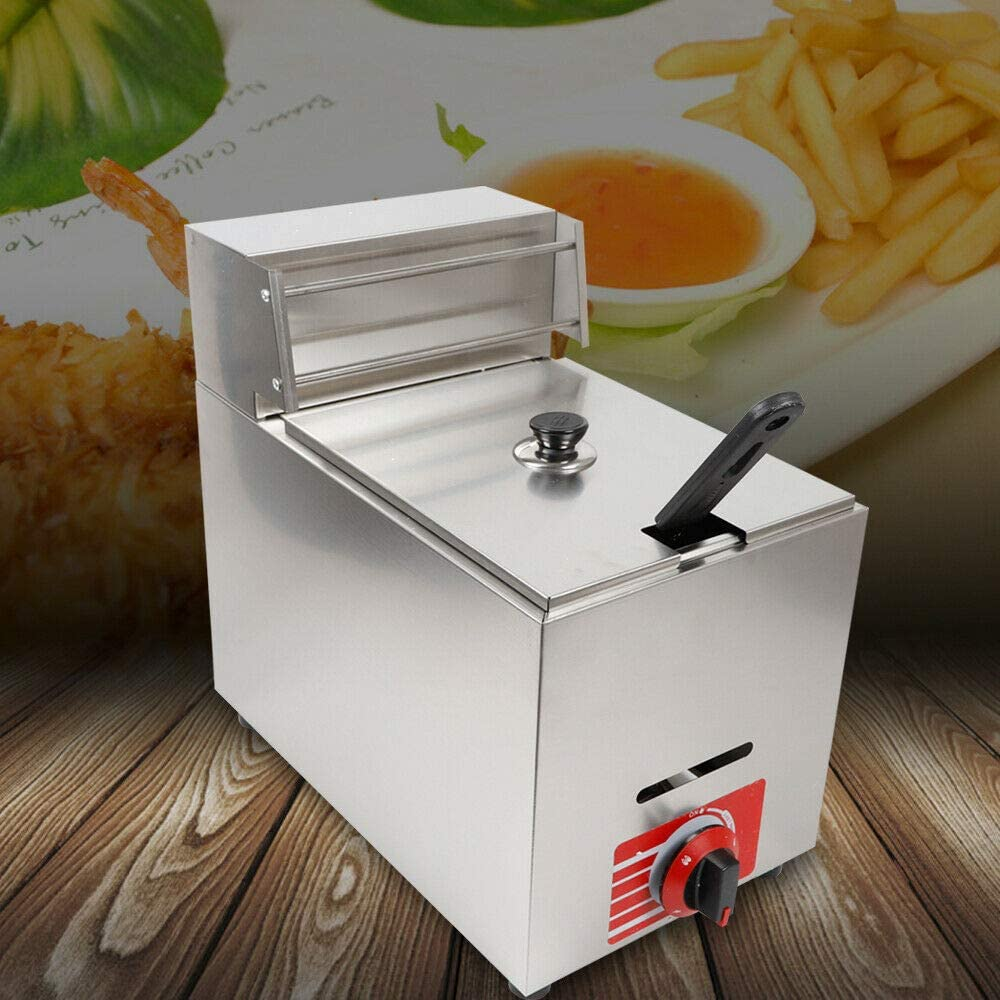 DNYSYSJ Commercial Countertop Gas Fryer, 10L Commercial Counter Stainless Deep Fryer, Countertop Kitchen Frying Machine for Turkey, French Fries, Donuts Without Accessories