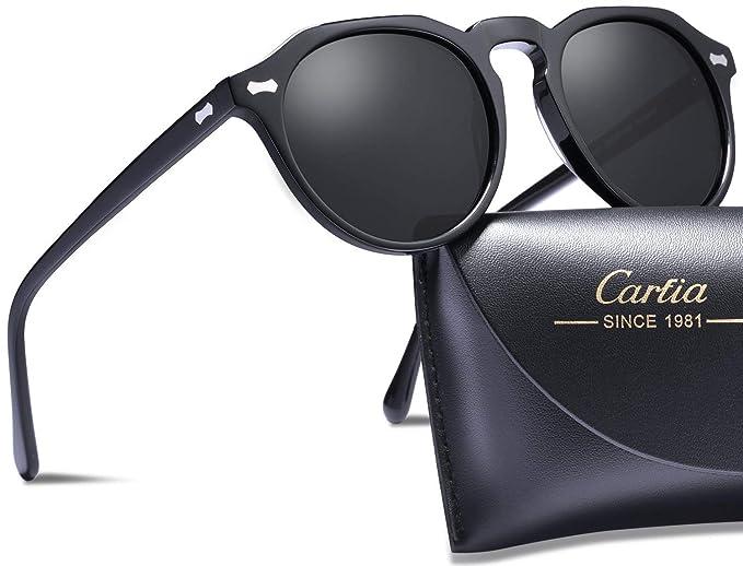 28d62c277e Carfia Vintage Rotondi Occhiali da sole da Donna Polarizzati 100% UV400  Protezione (Grigio)