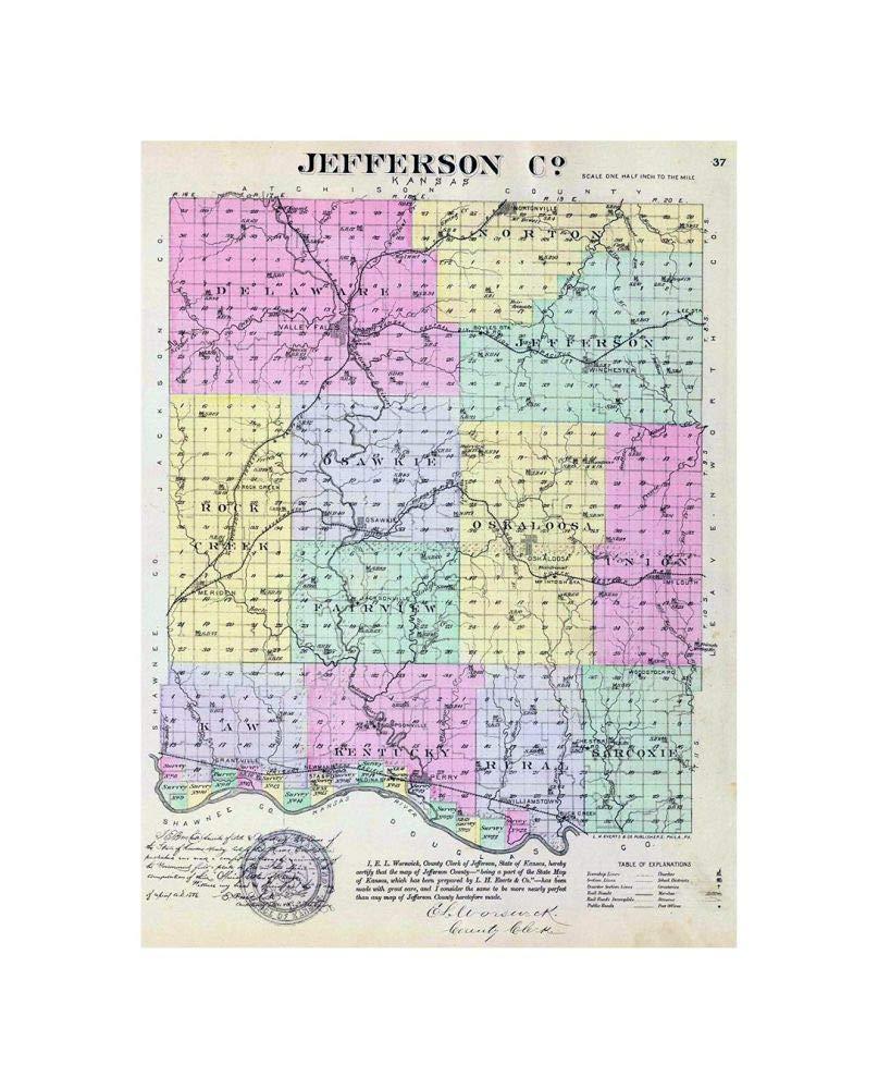 Amazon Com 1887 Map State Atlas Jefferson Co Kansas Vintage Fine