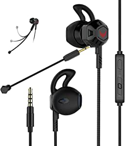 Gaming Headset Headphones with Adjustable Mic Wired in-Ear Headphones E-Sport Earphones for Nintendo Switch, Xbox One, PS4, PC, Laptop, Cellphone with 3.5mm Jack(Z100X Black)